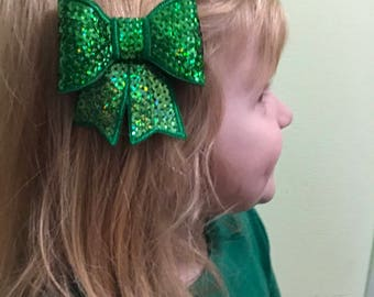 Emerald Green Sequin St Patricks Day Bow