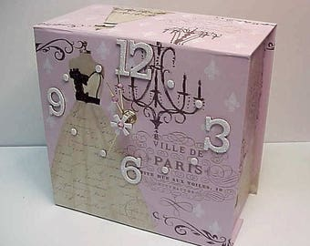 Villa de Paris aCharm Clock for Desk Wall Table or Dresser Adorable Clock and Treasure Box in One - Special Hiding Place - Personalize it!