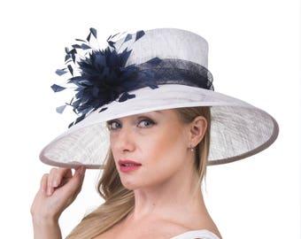 Wide Brim  Sinamay Hat , Derby Hat, Easter Hat, Tea Party Hat,  Fashion Hat, Church Hat, Derby Hat, White w Navy 058