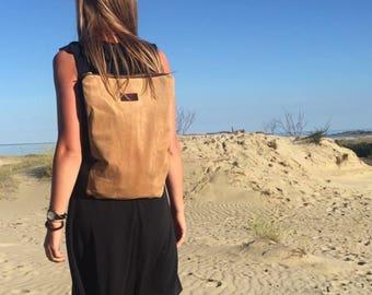 SALE Camel leather bag | Convertible backpack purse | Cocoa backpack | Suede backpack purse | Leather backpack | Shoulder bag and purse