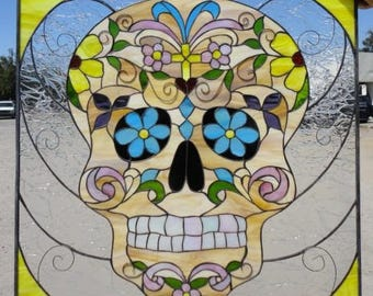 "The ""Day Of The Dead ""Leaded Stained Glass Window Panel or Cabinet Insert"