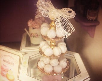 MINIATURE PEARL MACAROONS - 1/12 scale, pearl, handmade macaroons, with optional purchase of gold cake stand with lace embellishment