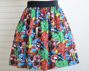 marvel avengers full skirt,skater skirt,A-line skirt,elastic waistband