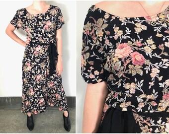 90's Floral Short Sleeve Maxi Dress L