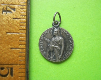 Saint Catharine Medal, Saint Catharine Pendant, French Religious Medal, French Catholic Pendant