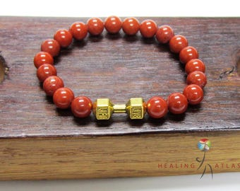 Red Jasper Dumbbell Mala Bracelet Root Sacral Chakra Bracelet Red Jasper Energy Yoga Meditation Mala Red Jasper Fertility Mala Work Out Mala