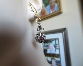 Hand-crafted Vintage Deco 1.10ctw Ruby & White Sapphire 925 Sterling Silver Dangle Earings, w/New French Ear Wiress, Wt. 7.7g, Dangle 2 IN