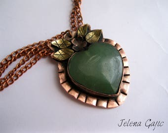 Handcrafted Copper and Brass Heart Pendant with Jade. Copper Pendant with natural stone
