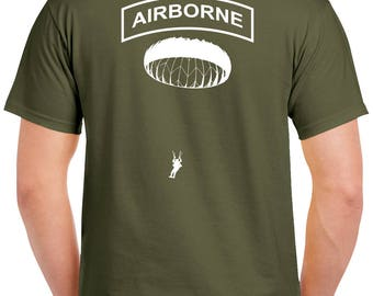Airborne Jump T-Shirt - 2 Sided Tee - Paratrooper - 0028-2