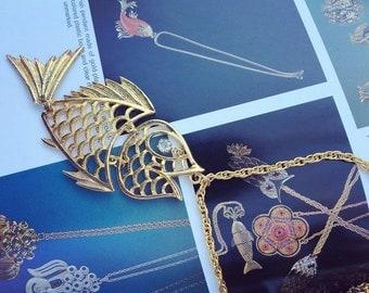 Boho Fish Necklace with Rhinestone Eye