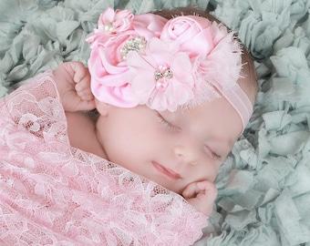 Newborn Pink Headband, Satin Headband, Chiffon Headband, Newborn Photo prop, Baptism Headband, Fancy Headband