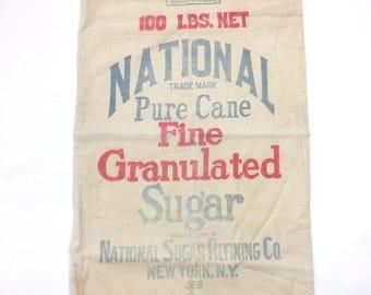 Vintage 100 LBS. NET National Pure Cane Fine Granulated Sugar Sack New York