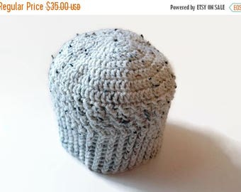 Baby Coming Sale Hand crocheted cap adult size small tan with brown & black flecks stocking cap (beanie, skullcap, tuque)