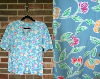1980s Light Blue Cotton Floral Button Up Tee, L P