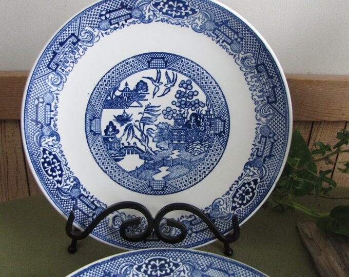Blue Willow Plates Set of Six (6) Dinner Plates Vintage Dinnerware Chinoiserie
