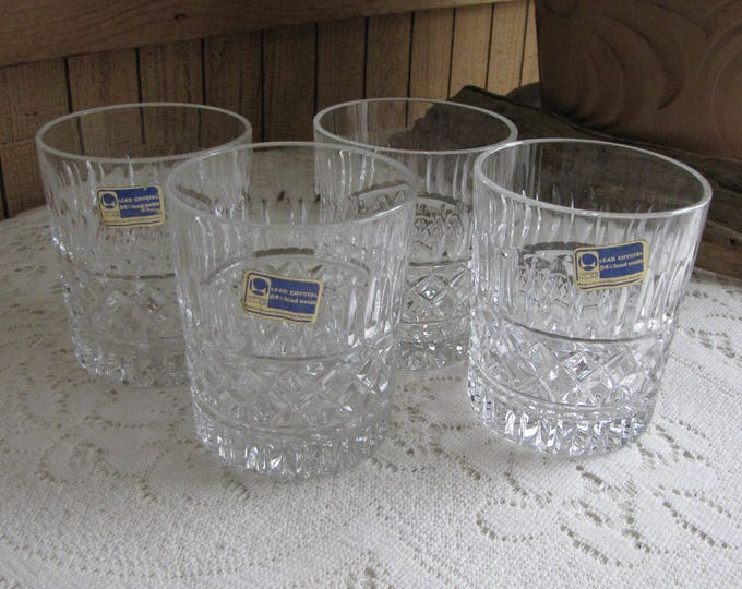 Lausitizer Glass Old Fashioned and Cocktail Glasses Crystal Vintage Barware