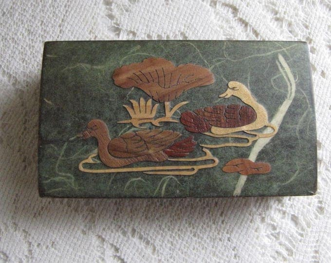 Small Wood Box Duck Inlayed Scene Vintage Trinket and Jewelry Boxes and Storage Gift Boxes Old Wood Boxes Stocking Stuffers and Gifts