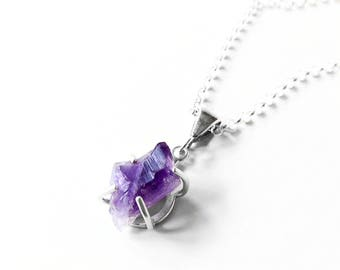 Rough Amethyst Necklace in Sterling Silver - Uncut Stone