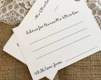 Wedding Advice Cards pack of 12 cards Bride & Groom Personalised Guest Book Guest Game