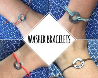 Washer bracelets stamped custom what's your word color choice adjustable jewelry bracelet motivation my inspirational words handmade intent
