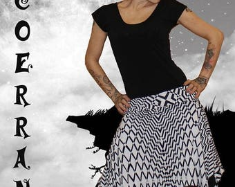 Asymmetrical skirt ' a world in black and white...'