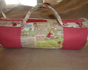 "Bag for knitting ""Scenes child"" printed cotton and Red polka dot fabric"