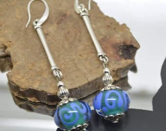 Earrings Periwinkle Blue Lampwork Glass Beads and green 925 Silver hooks