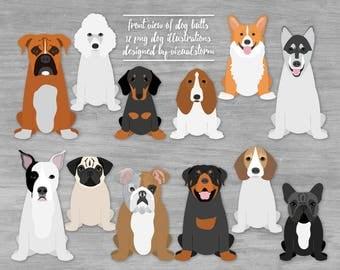 Front of Dog Butts Clipart Graphics Sitting Dogs Illustrations Pitbull Corgi Doxy Husky Boxer Beagle Poodle Bulldogs Basset Pug Rottweiler