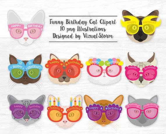 Funny Cat Birthday Clipart Happy Birthday Kittens Animal Party