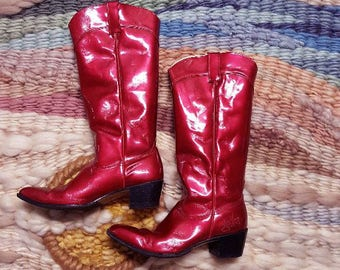 80s John Fluevog Tall METALLIC Candy Apple Red Patent Leather Cowboy Western Boots 10.5D Wide