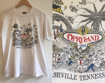 Vintage Opryland Souvenir Shirt Late 80s Nashville Tshirt Tennessee Musical Theme Park Memorabilia  Grand Ole Opry Screen Stars Mens XL