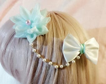 Pastel flower and bow hair clip