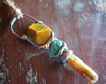 Handcrafted Crystal Pendant, Charm, Healing, Tiger Eye, Turquoise, Australian Kyanite, Copper, Magical, Organic, Earthy, Australian Handmade