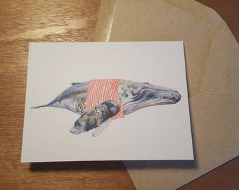 Ahoy Matey Whale Folded notecard