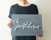 Custom Name Wooden Plank Laser Cut Sign - Hand drawn - Family Name Sign - Last Name Sign - Wedding Sign - Wedding Gift