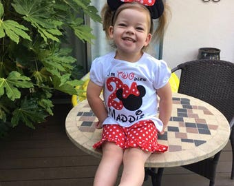 I'm TWO-dles Birthday Outfit - Minnie Mouse Birthday Outfit - Minnie Birthday - Im Twodles Shirt - Second Birthday Outfit - Oh Twodles