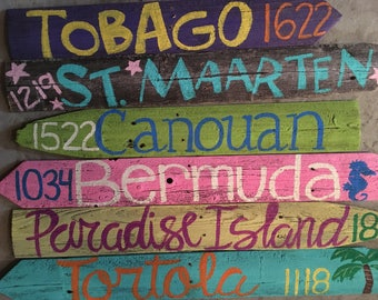 6 PACK* Travel Destination Directional Mileage Signs
