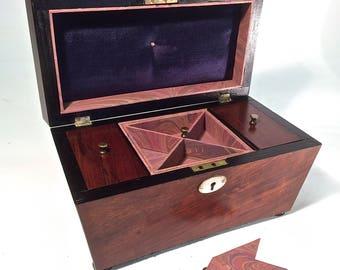 Antique Jewellery Box (Restored Tea Caddy) Late Georgian Circa 1820-1830