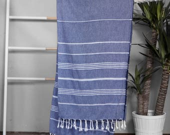 Turkish Towel Navy | Authentic Beach Towel Blue Travel Throw Free Shipping Bath Towel Fouta Turkish Cotton Yoga Spa Blanket Sarong TAL09