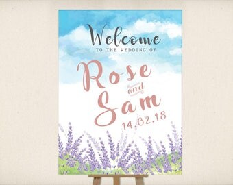 Welcome Wedding Sign  | Watercolor Clipart  Lavender