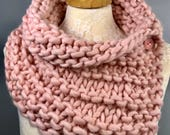 Hand Knit Scarf, Shoulder Wrap, Cape, Wool Cowl, Mini Poncho with 3 Buttons, Luxury Yarn READY TO SHIP