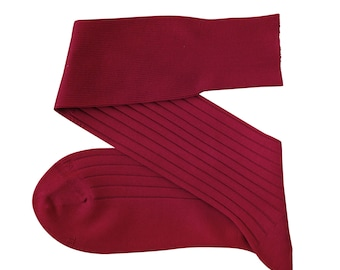 Burgundy Men Over The Calf New Ribbed %100Cotton Lisle Casual Dress Solid Cotton Socks