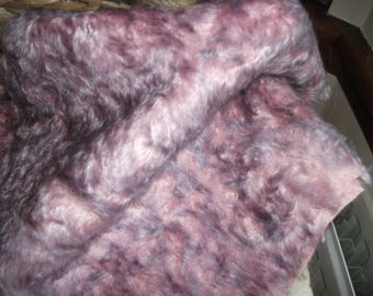 Pink with Lilac Tips Curly Windswept  Steiff Schulte Mohair Fabric  approx 10mm-12mm Pile Very Unusual