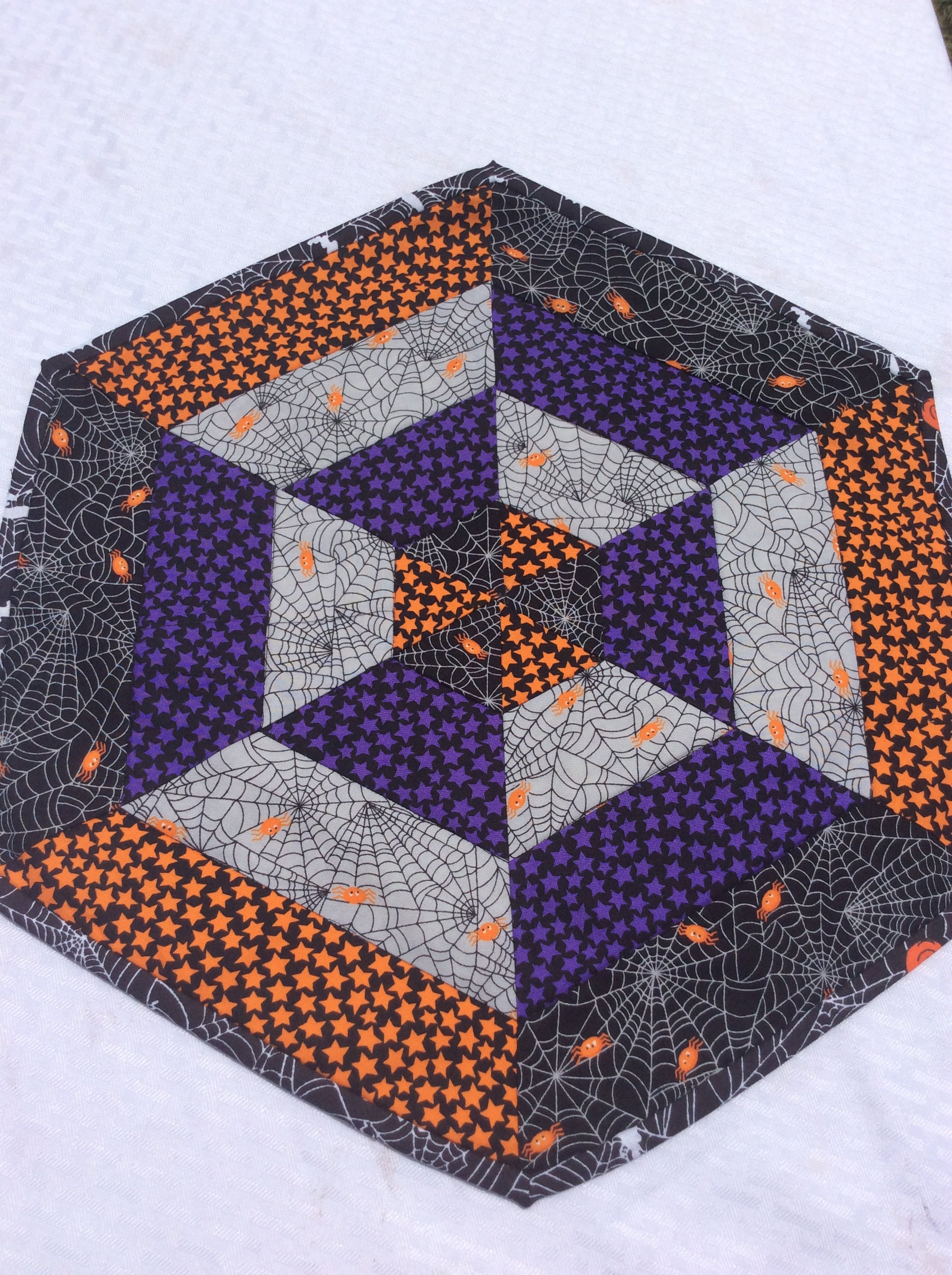 Halloween spider web mat quilted centerpiece table topper