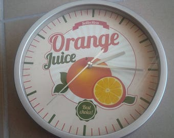 clock wall pattern juice orange kitchen