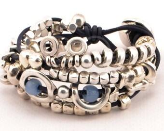 women leather bracelet, wrap boho bracelet, multi strand bracelet beaded, uno de 50 style, women anniversary gifts