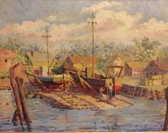 Vintage Gloucester Boat Yard   Julia Smith Wood  New Bedford, Massachusetts artist
