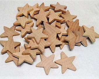 """Unfinished Wood Stars, Natural Wood, 1 1/2"""" x 3/16"""", 36 pieces"""