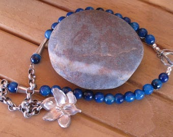Natural blue agate beaded with vintage silver pewter flower pendant and accents