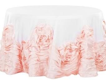 "Large Rosette Flower Tablecloth, Blush, Blush and White, 108"" Round Tablecloth, Flower Tablecloth, Rosette Tablecloth"